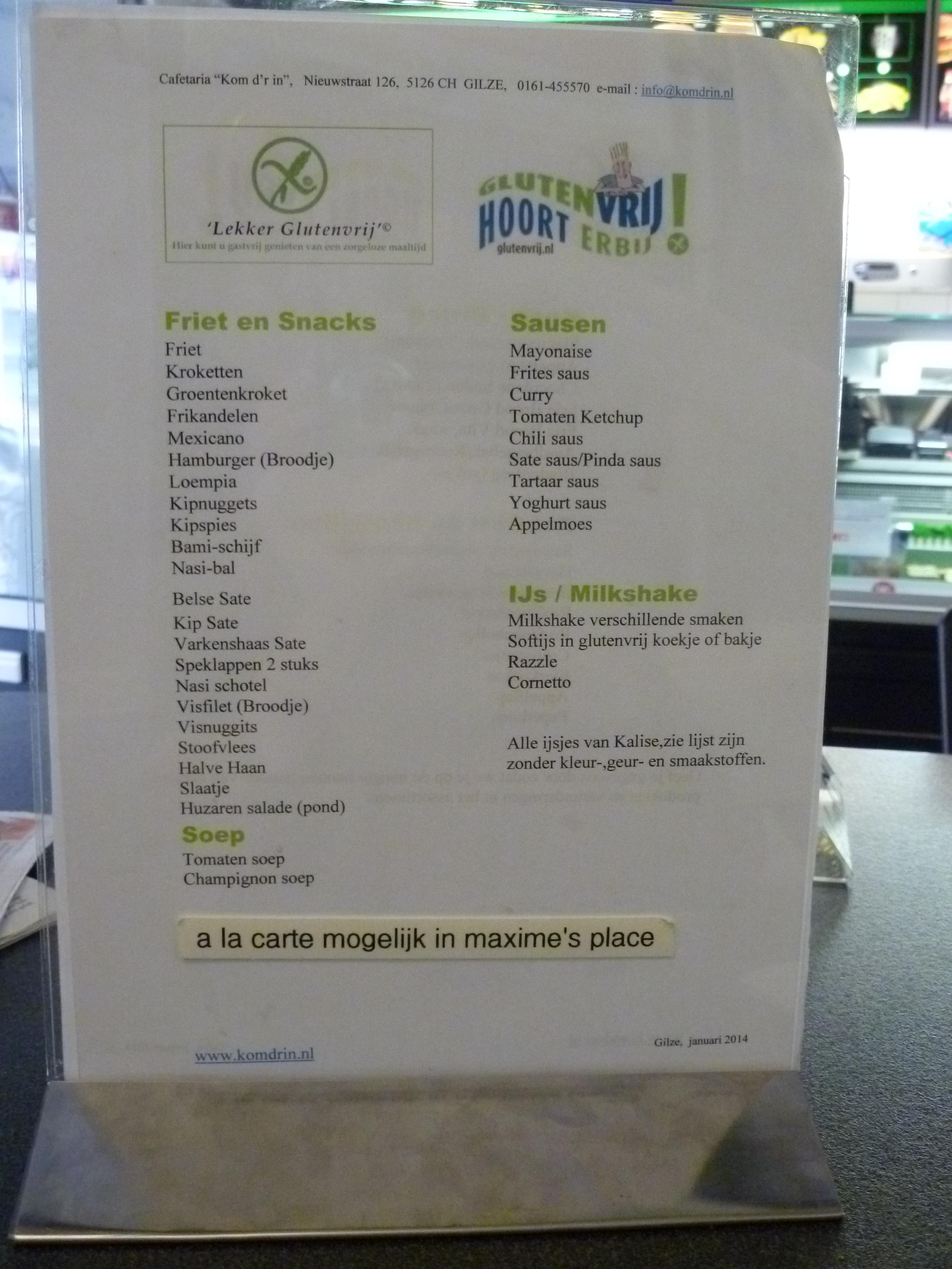 glutenvrij dieet lijst